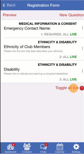 Live Registration Form