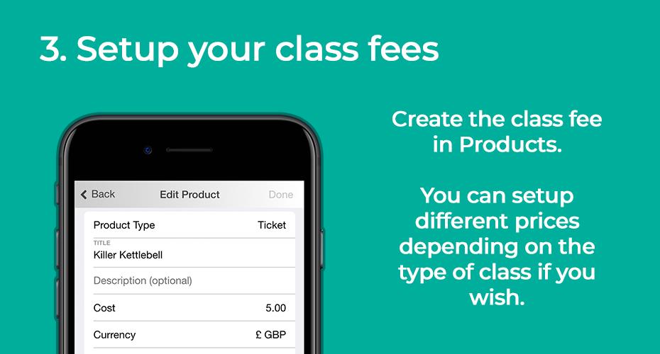 Setup your class fees