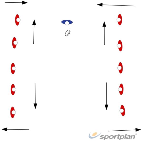 Pases espejos contrapuestosRugby Drills Coaching