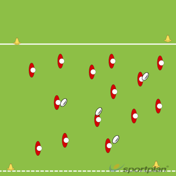 Warm up- Pop-passing gridRugby Drills Coaching