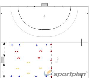 4 vs 4. (4+1 gol)Movement off the ballHockey Drills Coaching