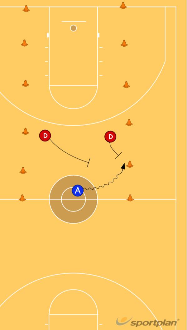 2 v 1 Trap Gauntlet GameDefenseBasketball Drills Coaching