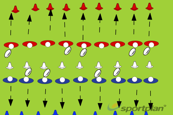 Mirror ball shuttle runsWarm UpRugby Drills Coaching