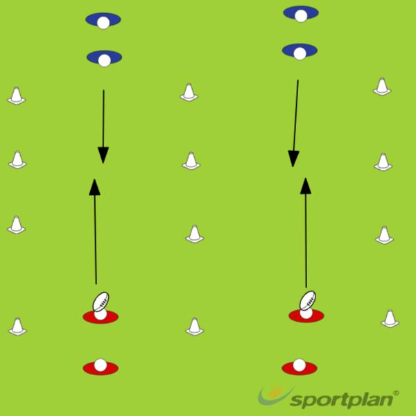 Drill 1, 1 vs 1 - 2 vs 2Rugby Drills Coaching