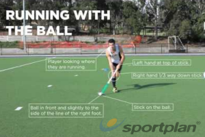 Run with the ball - keep the stick in contact with the ballMoving with the ballHockey Drills Coaching