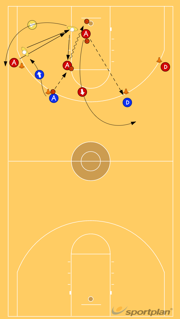 4 Cones V-Cut to the Block or Baseline Drill w DefenderFootwork and MovementBasketball Drills Coaching