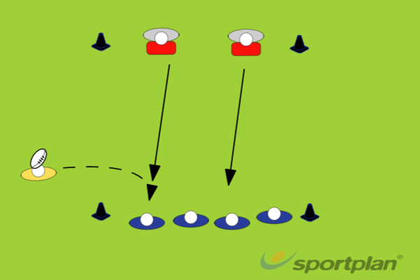 4 v 2 Support playRugby Drills Coaching