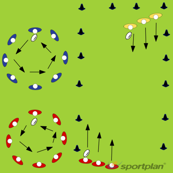 Passing and catching for under 6'sPractices for JuniorsRugby Drills Coaching