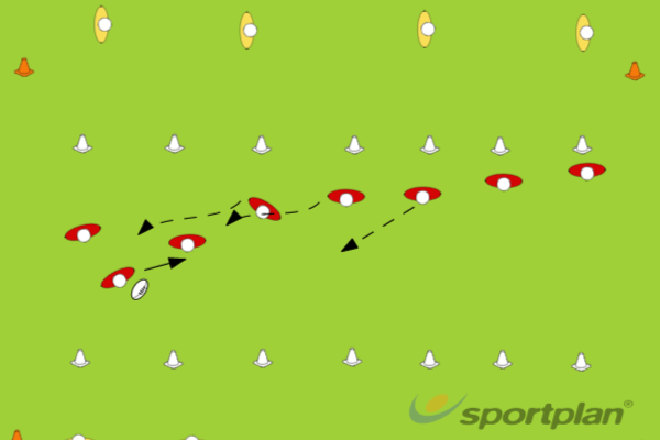 Beating defender with pass - Game - 8 v 4 v 4PassingRugby Drills Coaching