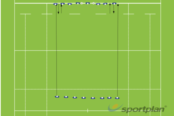 Tackle into Kick Chase and Line Speed 50m and 10m EffortRugby Drills Coaching