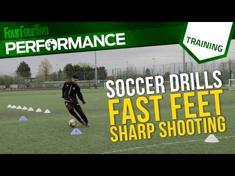 Soccer shooting drill: fast feet, sharp shootingShootingFootball Drills Coaching