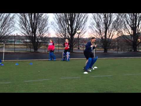Field hockey goalie fitness and footwork drillGoal keepingHockey Drills Coaching