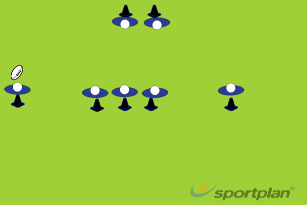 5 v 2 run, catch and pass drillRugby Drills Coaching