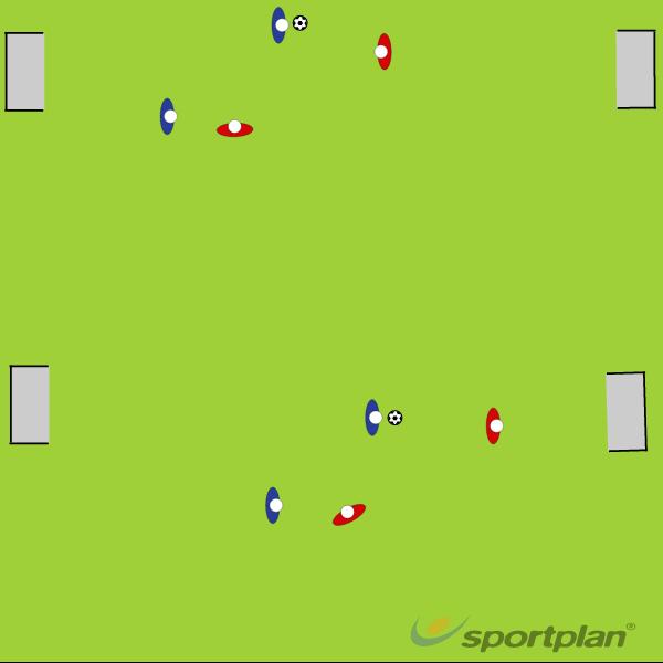 2v2 12 x 20 yard to inspire running with the ball1 v 1 skillsFootball Drills Coaching
