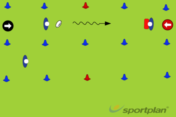 Pickup and pass before contactPassingRugby Drills Coaching