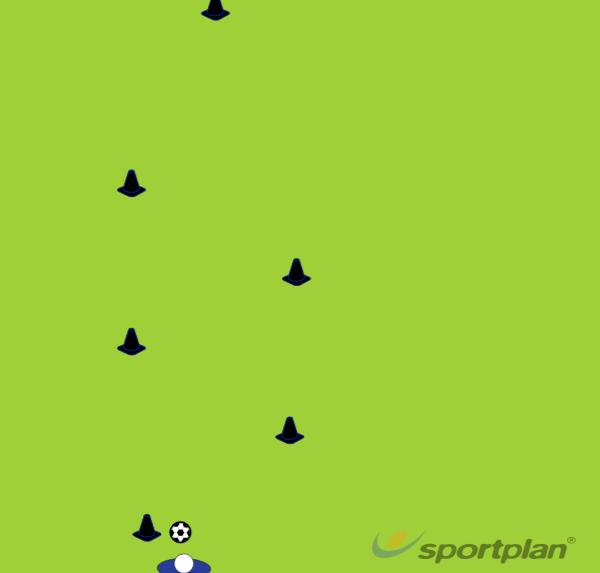 Diagonal cone attack dribbling drillDribblingFootball Drills Coaching