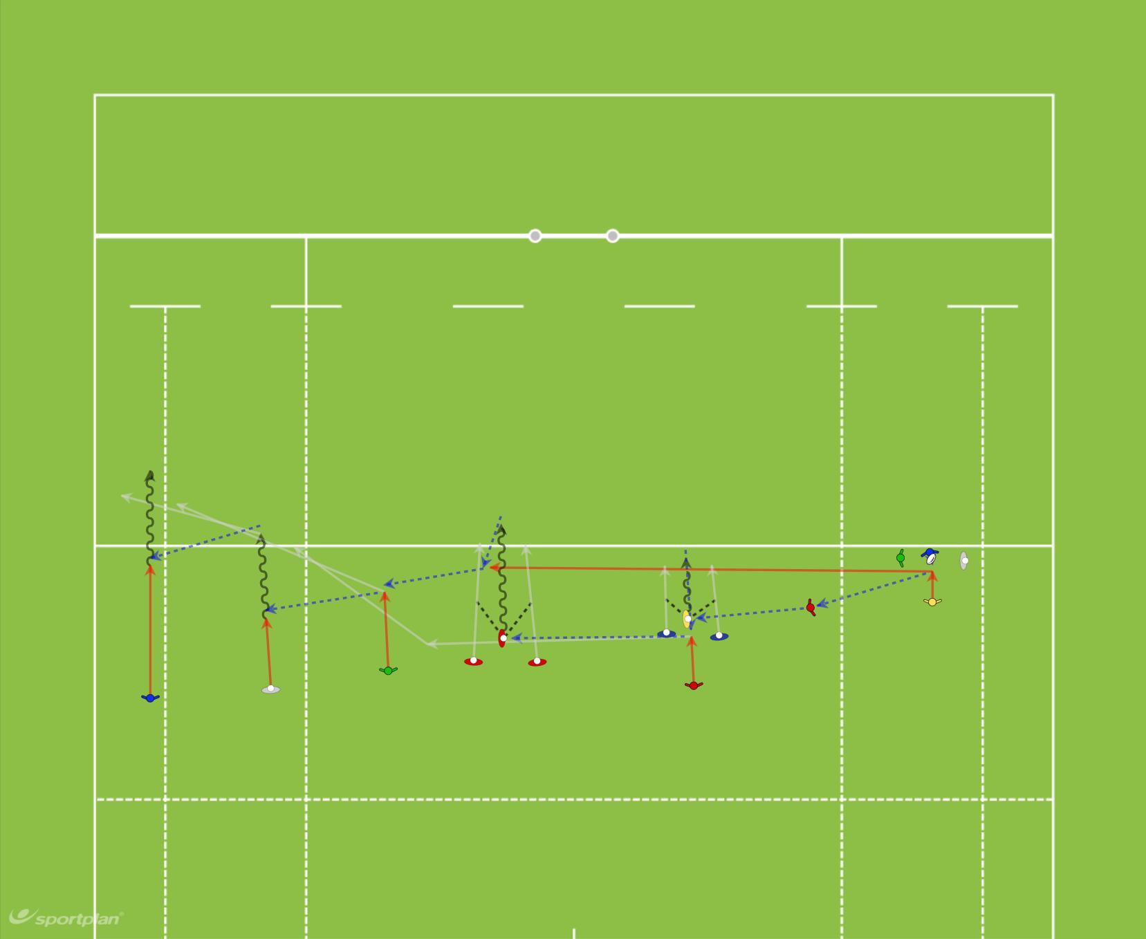 1 Variación Ataque (pases)Rugby Drills Coaching