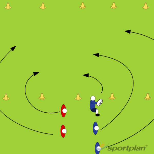 3 v 2 Sprint to Support (Drawing Only)Rugby Drills Coaching