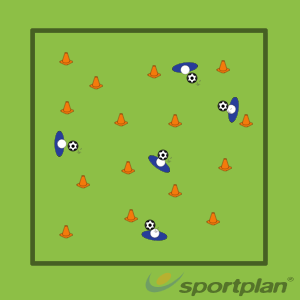 Cone collection dribbling (junior)Football Drills Coaching