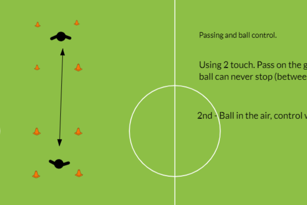 Simple pass and ball control drill. 2 players.Football Drills Coaching