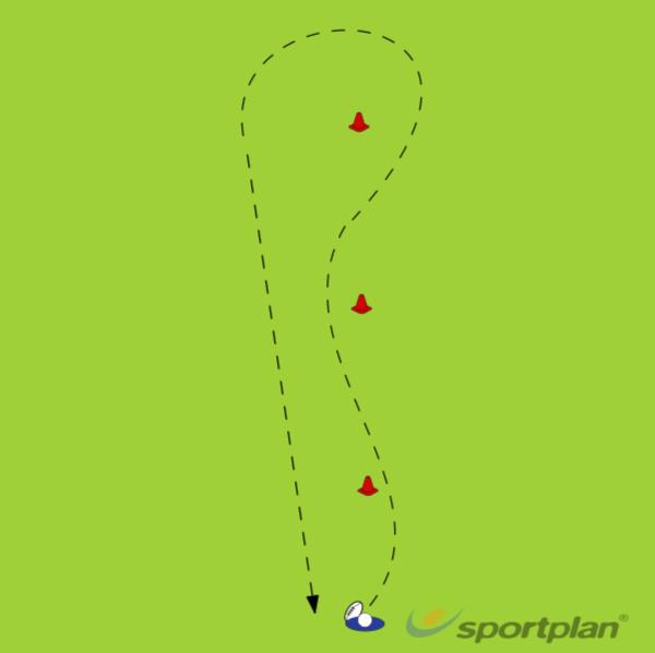 Cone Slalom with ballWarm UpRugby Drills Coaching
