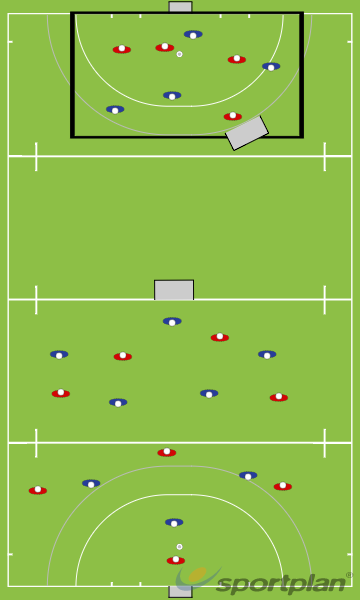 4v4 on angled goal / 8v8 half pitch gameConditioned GamesHockey Drills Coaching