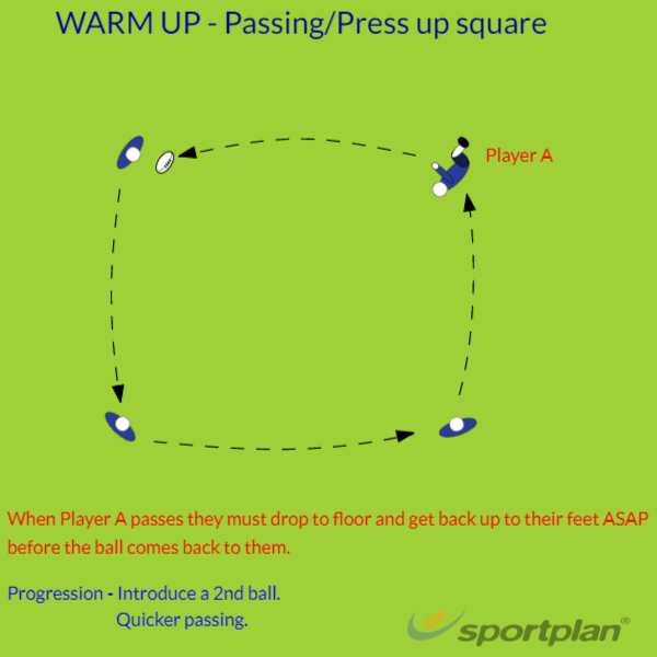 Passing square warm up.Warm UpRugby Drills Coaching