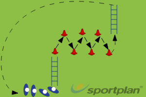 Combination Ladders and Cones 3 Ladders - Agility | Sportplan