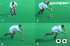 Correcting the players to run the ball in front of the body Hockey